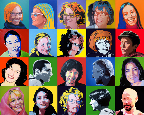 Family and friends Warhol style - oil on canvas, composition