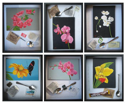 Flowers for breakfast - painting and objects